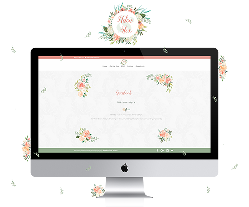 Helen-Alex wedding website mockup